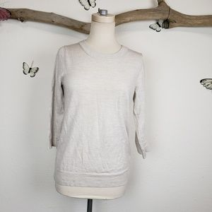 J crew collection cream and gray heathered sweater